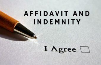 Affidavit and Indemnity