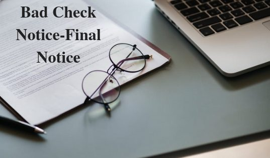 Bad Check Notice-Final Notice
