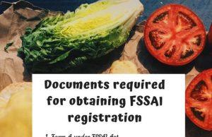 Document req for FSSAI