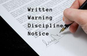 Written Warning Discipline Notice