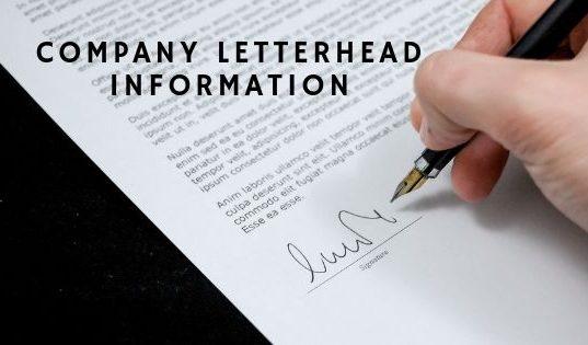 Company Letterhead Information