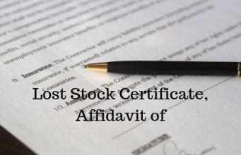 Lost Stock Certificate, Affidavit of