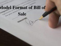 Model Format of Bill of Sale