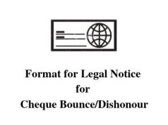 Format for Legal Notice for Cheque Bounce/Dishonour