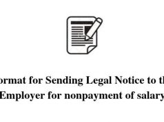 Format for Sending Legal Notice to the Employer for nonpayment of salary