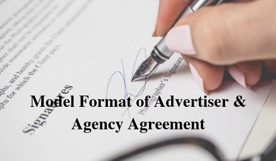 Model Format of Advertiser & Agency Agreement