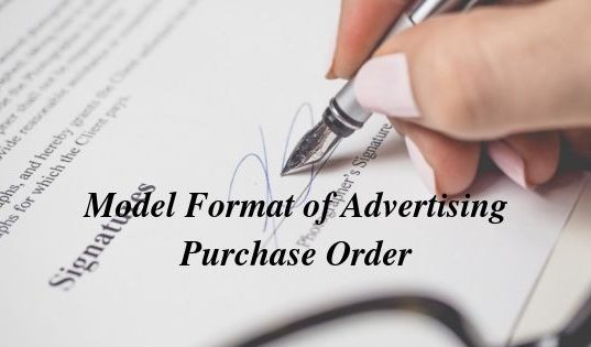 Model Format of Advertising Purchase Order