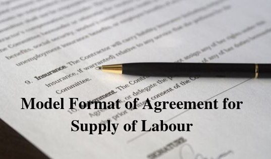 Model Format of Agreement for Supply of Labour