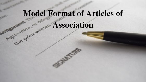 Model Format of Articles of Association