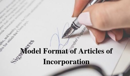 Model Format of Articles of Incorporation