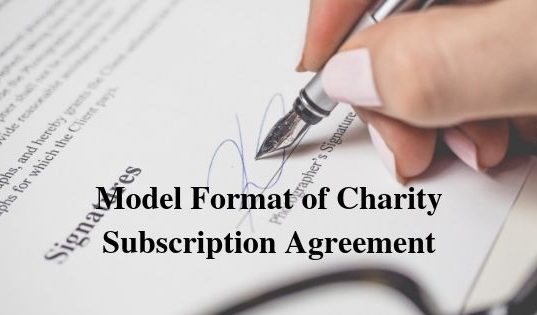 Model Format of Charity Subscription Agreement