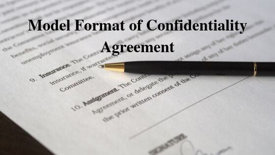 Model Format of Confidentiality Agreement