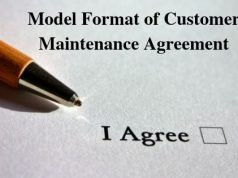 Model Format of Customer Maintenance Agreement