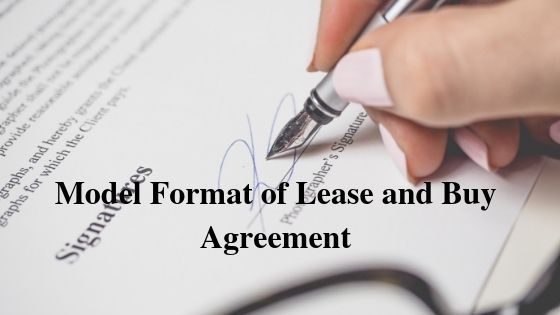 Model Format of Lease and Buy Agreement