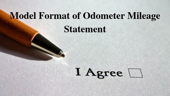 Model Format of Odometer Mileage Statement