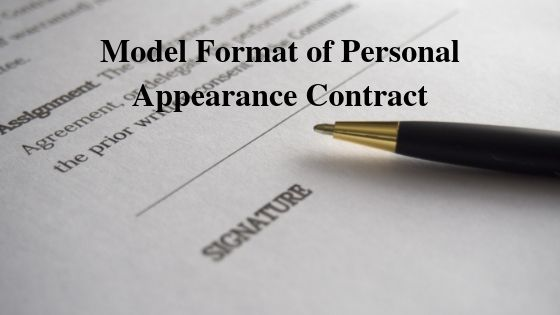 Model Format of Personal Appearance Contract