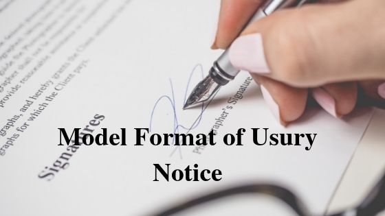 Model Format of Usury Notice