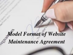 Model Format of Website Maintenance Agreement