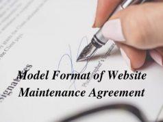 Model Format of Website Maintenance Agreement