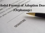 Model Format of Adoption Deed (Orphanage)