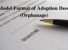 Model Format of Adoption Deed (Orphanage)