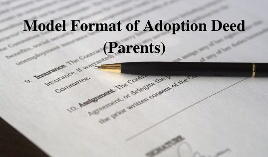 Model Format of Adoption Deed (Parents)