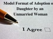 Model Format of Adoption of a Daughter by an Unmarried Woman