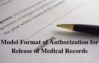 Model Format of Authorization for Release of Medical Records