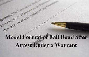 Model Format of Bail Bond after Arrest Under a Warrant