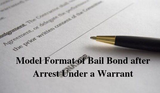 Model Format of Bail Bond after Arrest Under a Warrant