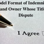 Model Format of Indemnity by a Land Owner Whose Title is in Dispute