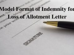 Model Format of Indemnity for Loss of Allotment Letter
