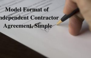 Model Format of Independent Contractor Agreement Simple
