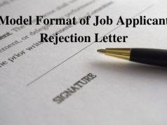 Model Format of Job Applicant Rejection Letter