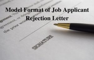 Model Format of Job Applicant Rejection Letter