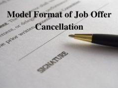 Model Format of Job Offer Cancellation