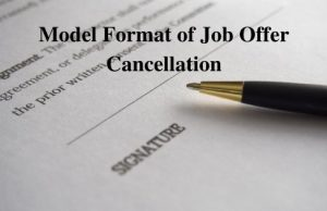 Model Format of Job Offer Cancellation