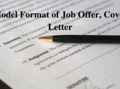 Model Format of Job Offer Cover Letter