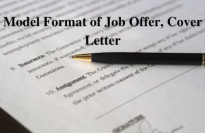 Model Format of Job Offer Cover Letter