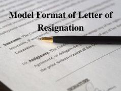 Model Format of Letter of Resignation