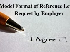 Model Format of Reference Letter Request by Employer