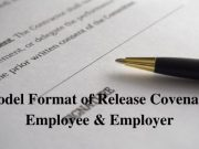 Model Format of Release Covenant Employee & Employer