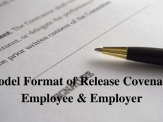 Model Format of Release Covenant Employee & Employer