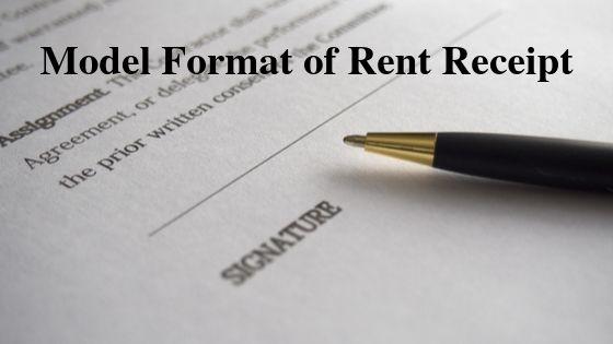 Model Format of Rent Receipt