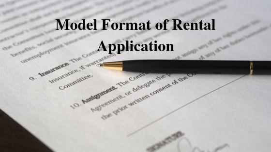 Model Format of Rental Application