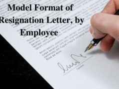 Model Format of Resignation Letter by Employee