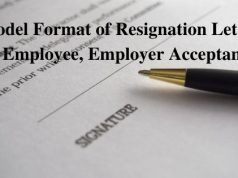 Model Format of Resignation Letter by Employee, Employer Acceptance