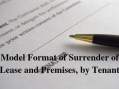 Model Format of Surrender of Lease and Premises, by Tenant