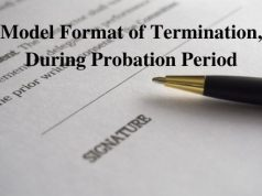 Model Format of Termination During Probation Period