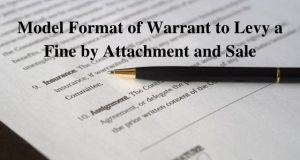 Model Format of Warrant to Levy a Fine by Attachment and Sale